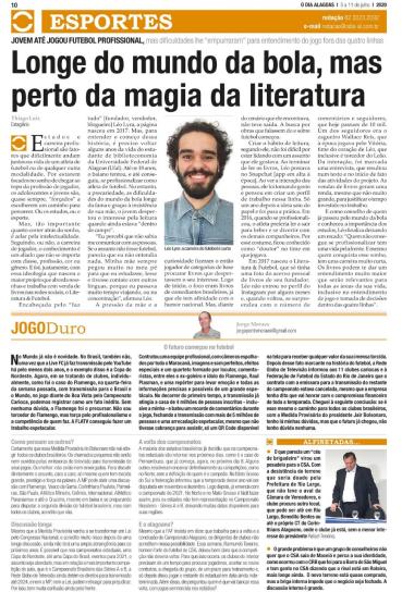 materia jornal o dia alagoas literatura e futebol leo lyra