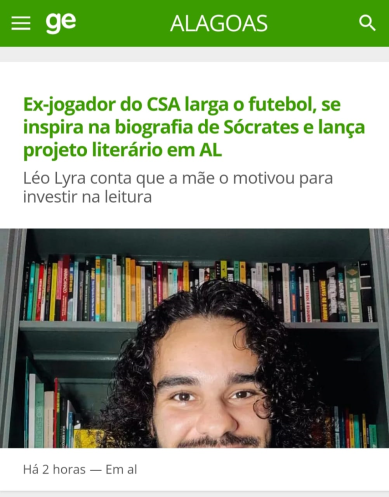 materia leo lyra literatura e futebol globo esporte alagoas