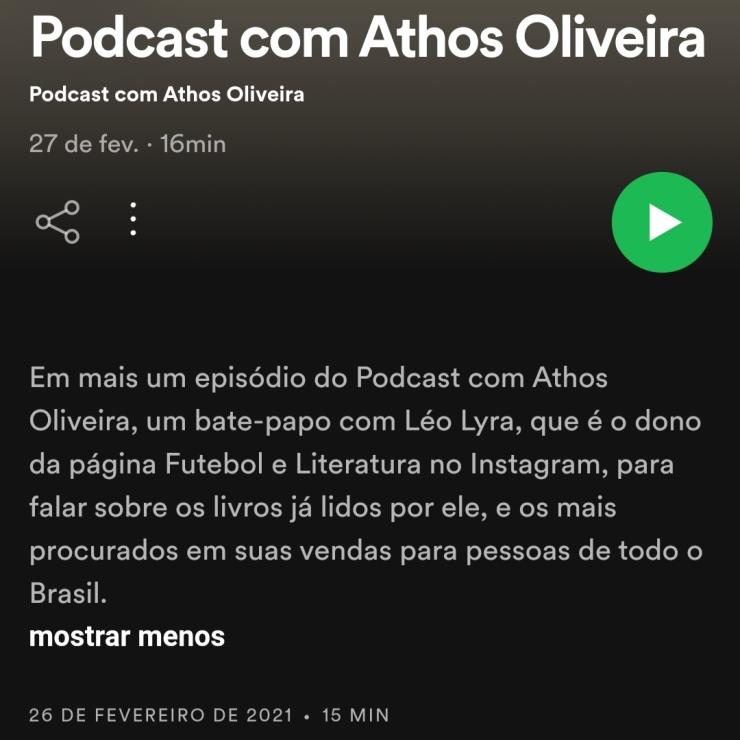 participacao literatura e futebol leo lyra podcast com athos oliveira